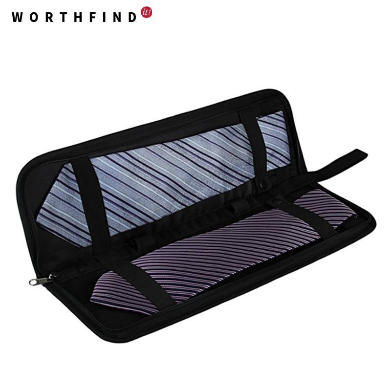 WORTHFIND New Men s Lightweight Black Nylon Tie Organizer With Zipper Little Tie Case Fashion Tie