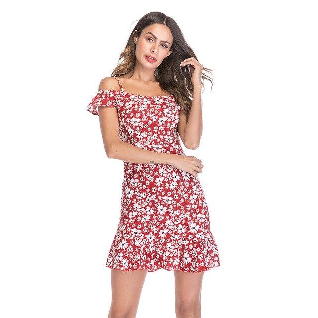 99a6c914517a6 Wowmity 2018 print backless midi dress women High waist casual boho dress  female Ruffle off shoulder mermaid dress summer