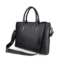 Import Genuine Leather Black Fashion Men's Briefcase Business Handbag 14 Inch Laptop Bag PR087274