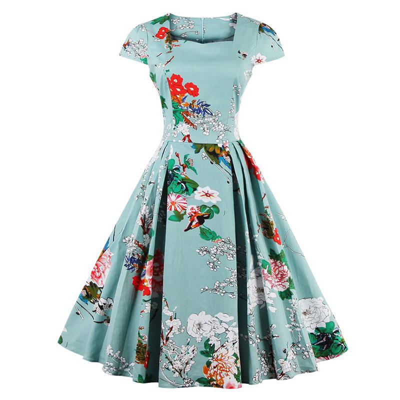 Kostlish Brand 2017 New Summer Dress Women Short Sleeve Slim 50s 60s Vintage Dress Elegant Print Swing Rockabilly Party Dresses (10)