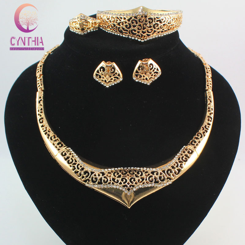 Fashion Dubai Design Women Gold Color Crystal Necklace Bangle
