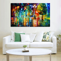Decorative Canvas Oil Painting Canvas Beautiful Street Night Wall Art Modern Knife Scenery Picture Home Decor