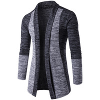Autumn Men's Long Sleeve Cardigan Teen Fashion Casual Knit Khaki with Grey Sweaters S M L XL XXL