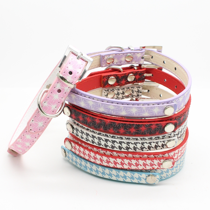 Pu Leather Thousand Bird Pattern Dog Collar Dog Strap Diy Dog Collar 2.0*42 4 Colors Black Blue Pink Red Free Shipping ...