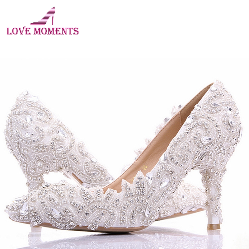 Wedding Shoes Rhinestone Custom Made High Heel Pumps Bridal Shoes Ladies Evening Party Shoes Pumps Pointed Toe Bride Shoes women s fashion gold lace dinner evening party pumps shoes plus sizes low high heels custom made bridal wedding shoes