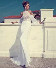 Free Shipping 2014 New Fashion Mermaid Top Lace Sexy Open Back Sweep Train Vintage Wedding Dress With Long Sleeves MF063