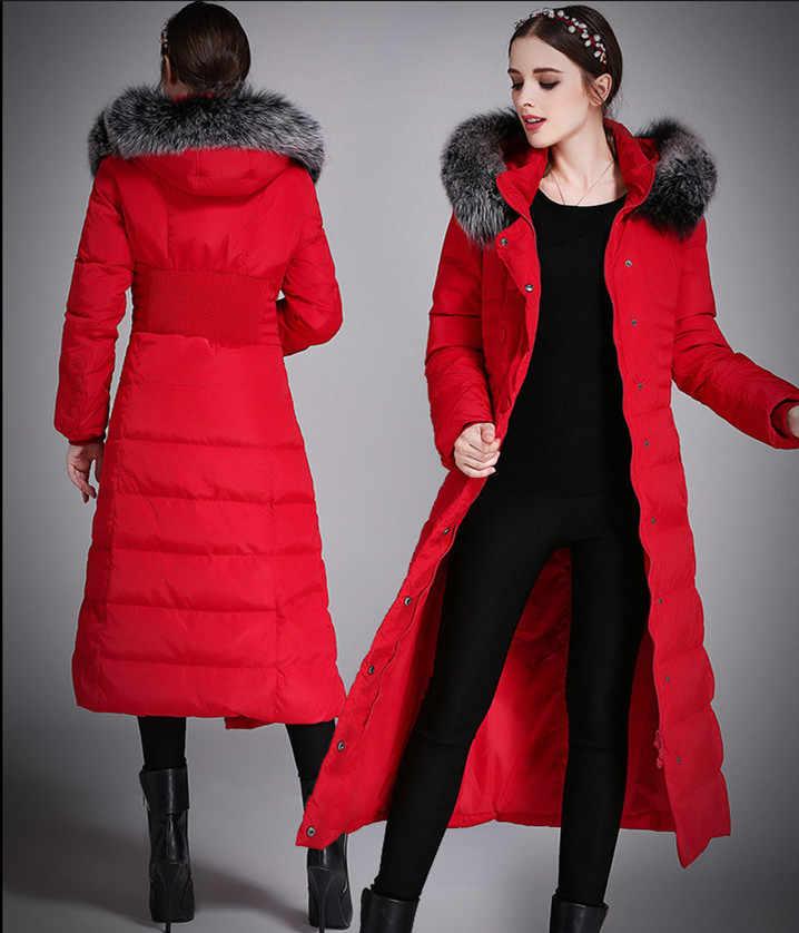 AYUNSUE 2019 Damen Winter Warme Mantel X-Lange Frauen Unten Jacke Fuchs Pelz Kragen Parkas Verdicken Weibliche Kleidung Plus größe 5XL WYQ739