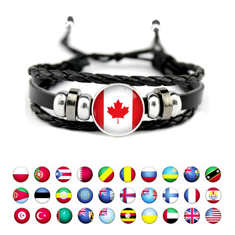 Cameroon Ecuador Netherlands Norway Peru United States Germany Denmark Iceland Belgium Canada Country Flag Men Women Bracelet