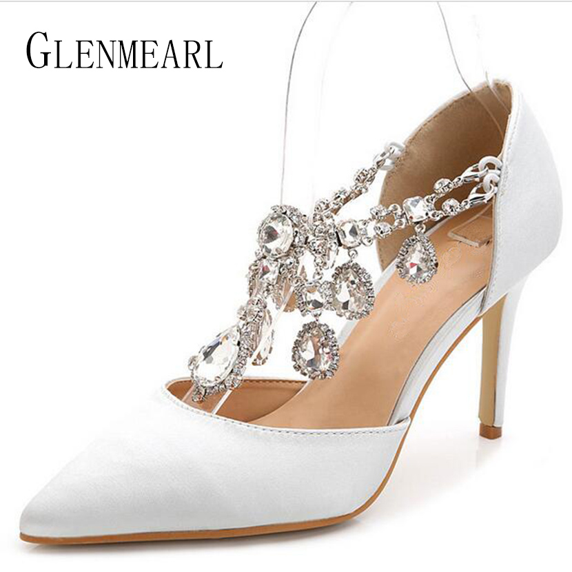 2019 New Thin High Heel Women Shoes Pumps Plus Size Leather Rhinestone Single Pumps Shallow Opening