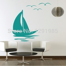 Free Shipping Sailing Wall Vinyl Stickers Art Decal Reusable & Removable Decal 2017 fashion custom made wedding decoration