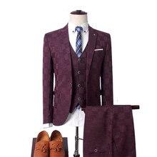 Plaid suit suit men (blazer vest pants) business British wind wedding dress banquet high-end slim color suit 3 piece set 2019 цены