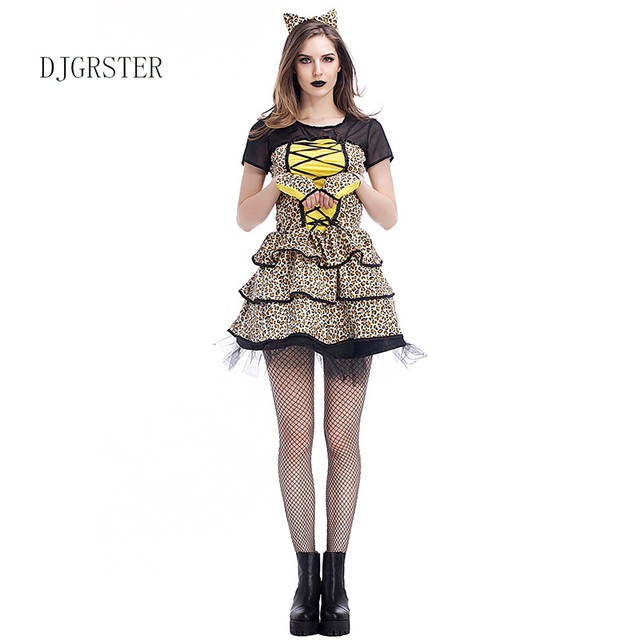 DJGRSTER New Hot Animal Cosplay Costume Cheetah Cubs Women Dress Leopard Print Fashion Halloween Costume Party  sc 1 st  AliExpress.com & DJGRSTER New Hot Animal Cosplay Costume Cheetah Cubs Women Dress ...