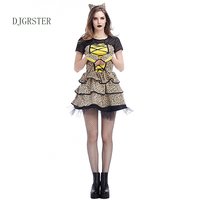DJGRSTER New Hot Animal Cosplay Costume Cheetah Cubs Women Dress Leopard Print Fashion Halloween Costume Party