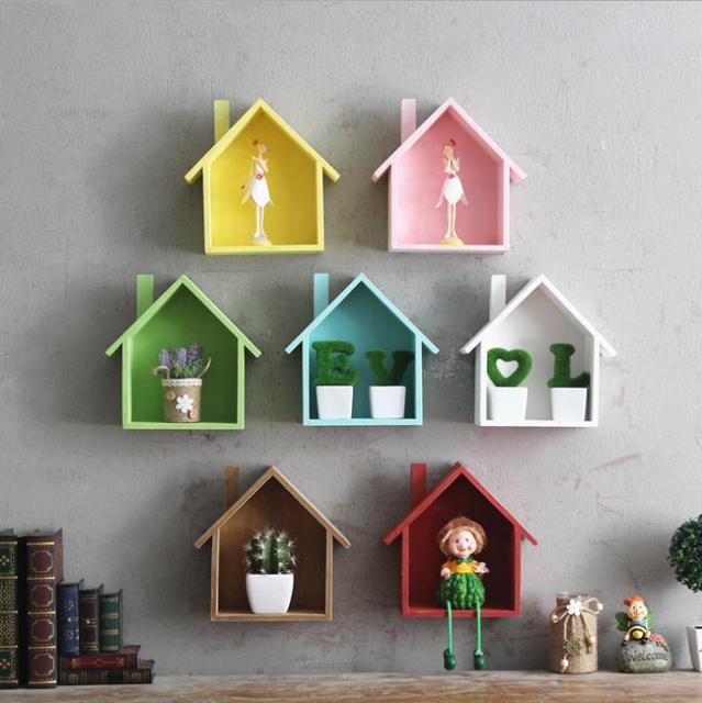 Creative Wooden Wall Decor Retro Village Colored Small House Wall ...