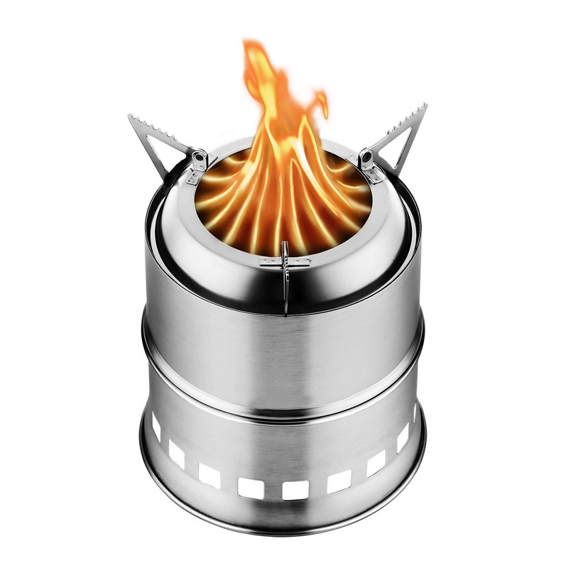Stainless Steel Camping Stove Wood Burning Gasifier Stove Cooker Outdoor Oven Camping For Picnic Hiking Backpacking Traveling