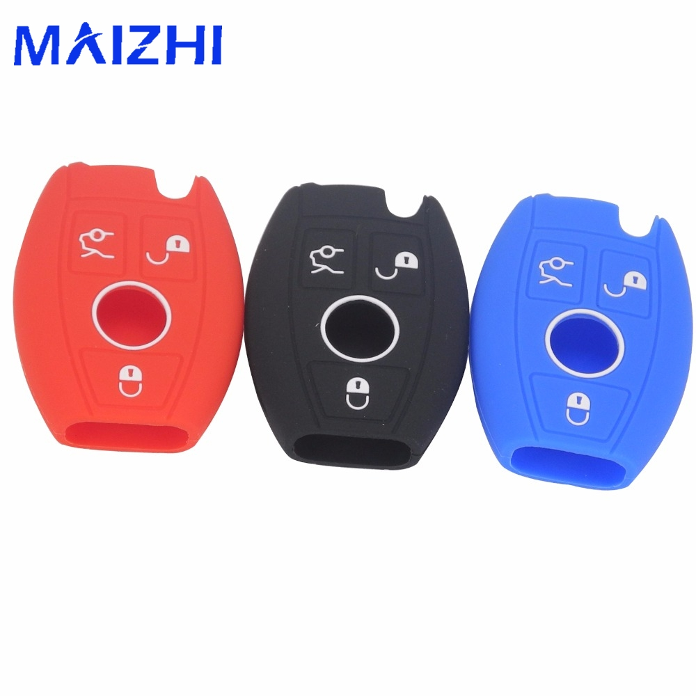 maizhi For Benz Fob Remote Case Smart W203 W211 CLK A C E S Class Slk Cl Silicone Car Key Case Cover Case 3 Buttons Car Styling