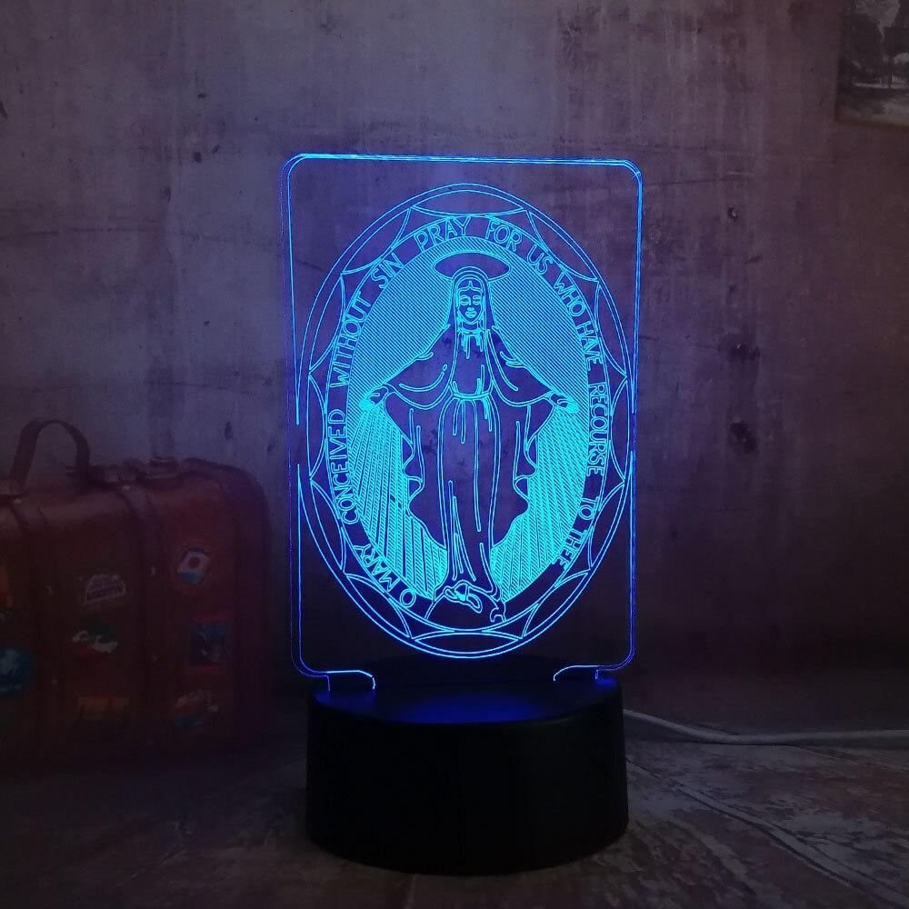 The Virgin Mary 3D LED Desk Table RGB Controller 7 Color USB Night Light Novelty Lighting Portable Lantern Downlight Adapter