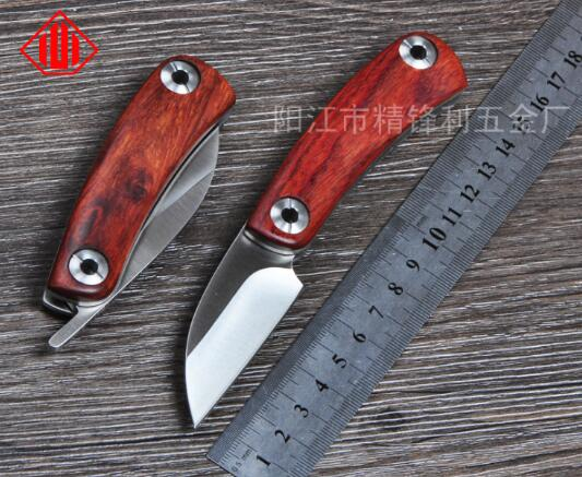 D2 blade Natural yellow rosewood 420 steel handle folding font b knife b font camping Hunting