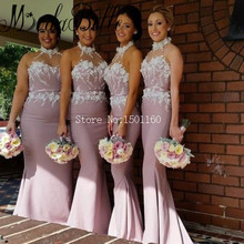 Halter Pink Mermaid Bridesmaid Dresses Robe Demoiselle D'honneur Wedding Guest Dress Wedding Maid of Honor Dress With Flowers