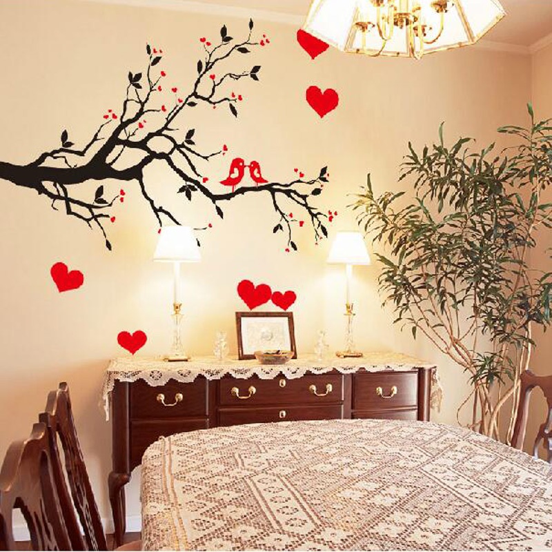 Fashion Red Love Heart Wall Decor Vintage Life Tree Wall Sticker ...