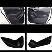 4pcs Fabric Door Protection Mats Anti kick Decorative Pads For Mazda 3 Axela 2014