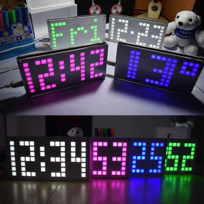 DIY Table Clock Large Size Lattice Touch Clock Brightness Adjustable Electronic Clock Kit