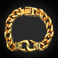 Stainless Steel Punk Rock Bracelets 18K Real Gold Plated 22CM Men Jewelry Cuban Link Chunky Hand