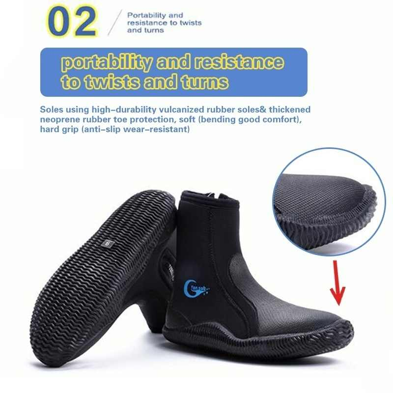 Keenso Dive Boot 1 Pair 5mm Thick Premium Neoprene Rubber Warm Scuba Diving Boot Snorkeling Shoes Anti-Slip Surfing Swimming Socks Foot Protector Shoes for Snorkeling Scuba Diving Kayaking