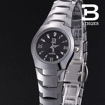 Brand Binger luxury tungsten steel casual quartz watch dress women waterproof dive watch designer silver wristwatches