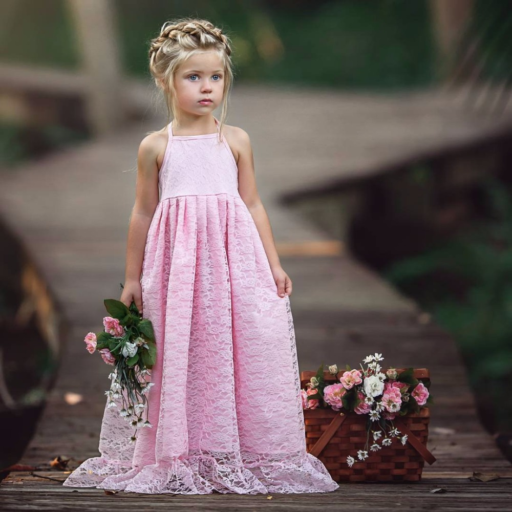 2018 new girls dress solid color lace halter neck princess dress upscale evening dress Party princess dress