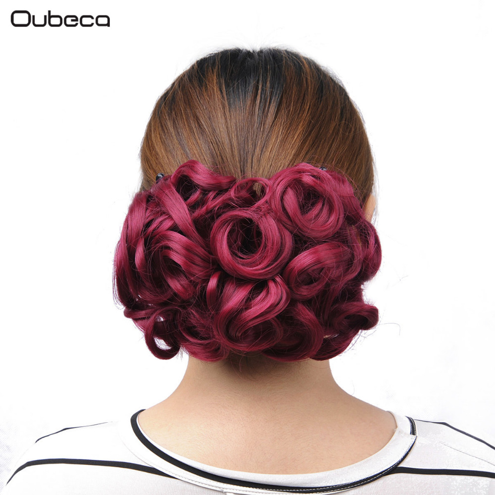 OUBECA 100g/pc Burg Women's Curly Chignon Elastic Net With Two Combs Synthetic Hair Buns Updo Cover Hairpiece Wine Red