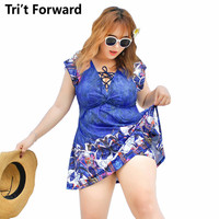 3XL 4XL 5XL 6XL Plus Size Beach Dress Deep V Neck One Piece Swimsuit Women 2018