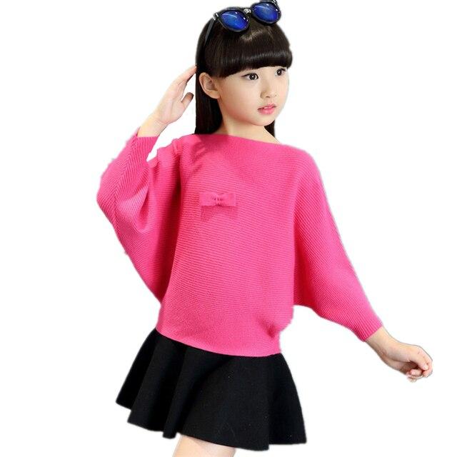 2017 Spring Girl Grey Pink Red Sweatershirt  Bat Sweater