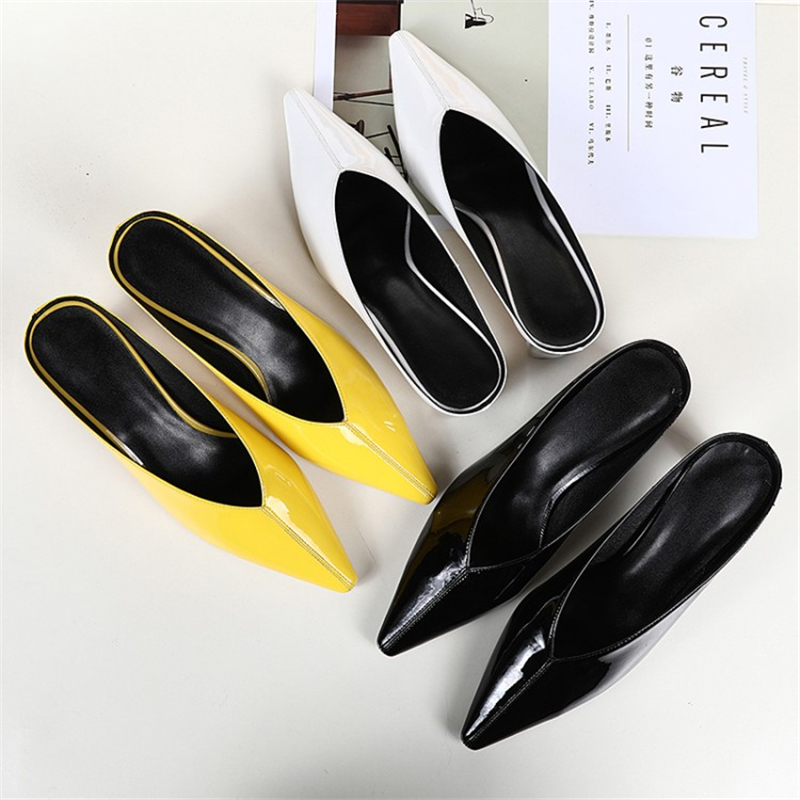 Ouqinvshen Sewing Mules Shoes Women Fashion Concise Genuine Leather White Strange Style High Heels Shoes Women Pointed Toe Pumps
