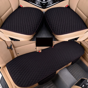 Image 2 - Car Seat Covers Linen Fabric Car Seat Protector Four Seasons Front Rear Flax Cushion Breathable Protector Auto accessories