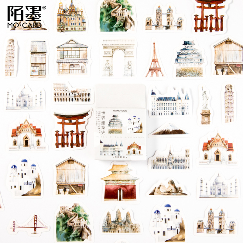 45 Pcs/lot Vintage World Architecture Scenery Paper Sticker Decoration Stickers DIY Ablum Diary Scrapbooking Label Sticker
