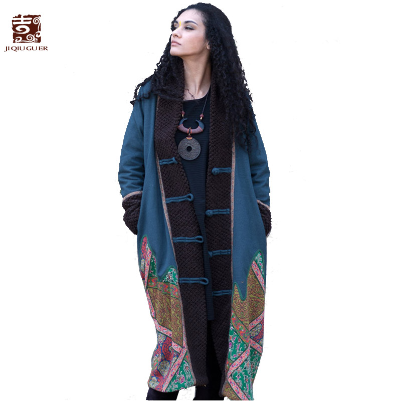 Jiqiuguer Women Patchwork Winter Parka Vintage Single Breasted Cotton Padded Jacket Coat Loose Long Thick Warm Outwear L134Y018 2015 cotton padded elderly warm thickening long cotton padded jacket mens new single breasted wholesale zipper loose coat d10
