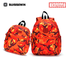 Suissewin Fashionable Parent-child Backpack SN2004K  Man And Women Bag With Children Anti-Lost Band Printing Backpack Mochila