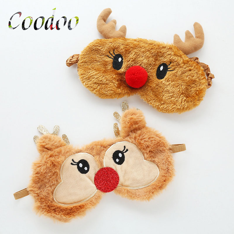 2PCS Cute Deer Velvet Sleeping Eye Mask Light Shielding Breathable Ice Bag To Alleviate Fatigue Eye Mask Gifts For Children A2