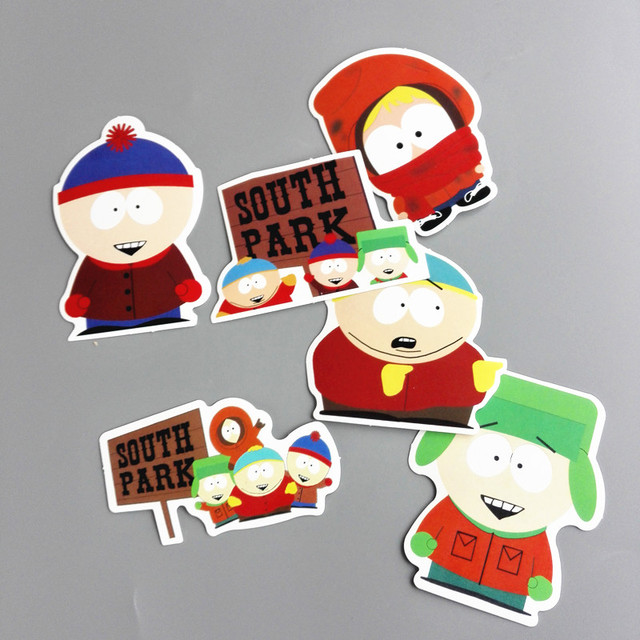 TD ZW 6 Pcs/lot American Drama South Park Funny Sticker Decal For Car Laptop Bicycle Notebook Backpack Waterproof Stickers