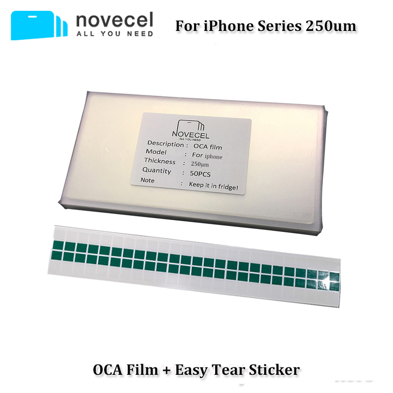 Novecel 50pcs 250um OCA Film for iPhone 5 6 6S 7 8 Plus X XR XS Max Optical Adhesive Sticker for Touch Glass Lens Replacement
