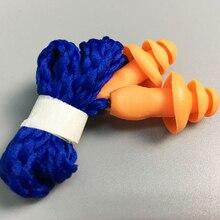 Zatyczka do uszu wytrzymały silikonowy wodoodporny miękki kształt choinki pomarańczowa redukcja szumów ze sznurkiem ochraniacz do pływania