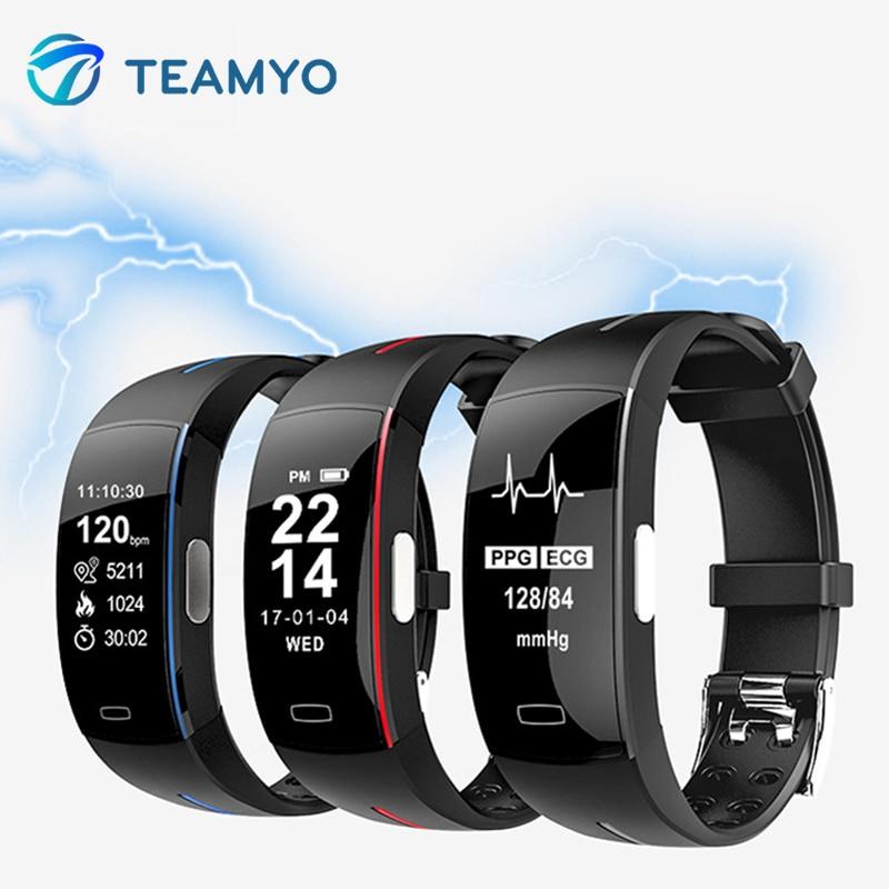 Teamyo Smart Band Heart Rate Monitor Fitness Trcker ECG+PPG Sport Pedometer Blood Pressure IP67 Waterproof Fitness Bracelet