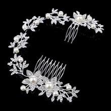 Yudelena Long Floral Bridal Hair Clip Accessories Imitation Pearl Silver  Plated Crystal Wedding Prom Hair Combs 2cd3e0323324