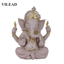 VILEAD 8.2 Nature Sandstone India Elephant God Statuettes Indian Ganesha Figurines Hindu Fengshui Elephant-Headed Buddha