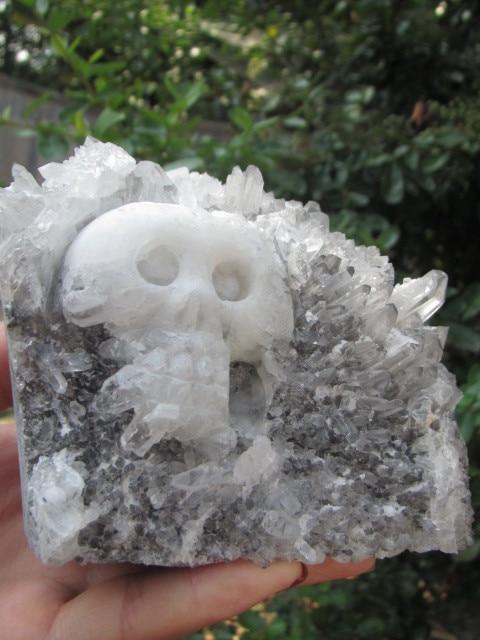 1154 g Tibetina prirodna bistra kvarcna kristalna lubanja. Spektar u - Kućni dekor - Foto 3