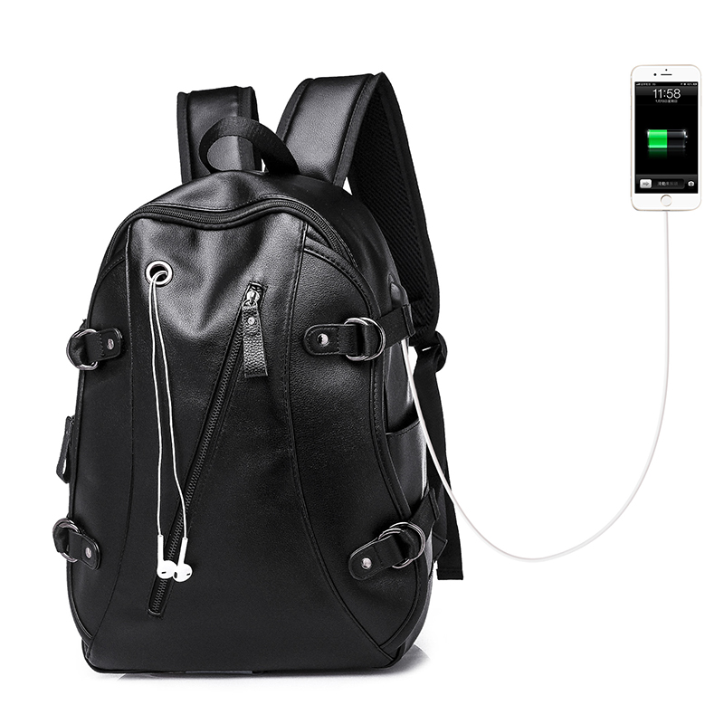 Men's <font><b>Leather</b></font> Waterproof Large Laptop Bag USB Design with Headphone Hole Bookbag Travel <font><b>Backpack</b></font> School Bags Mochila Masculina image
