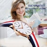 Olevs vrouwen horloge merk 2017 fashion horloges nylon doek datum waterdicht anti-reflecterende sapphire quartz horloges