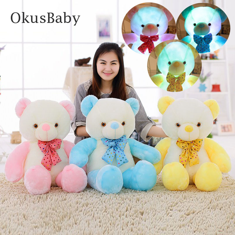 50CM/80CM Two Mix Colors Stuffed Animal LED Flash Plush Light - Up Toys Glowing Teddy Bear With Bowknot Christmas Gift For Kids