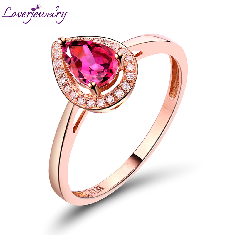 LOVERJEWELRY Natural Pear Tourmaline Gemstone Ring With Diamond In Solid 18Kt Rose Gold Women Wedding Ring 4x6mm Top Sale WU248